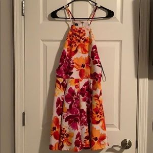 Bebe white orange pink floral dress